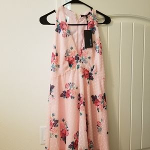 Dress, pink floral halter style, new